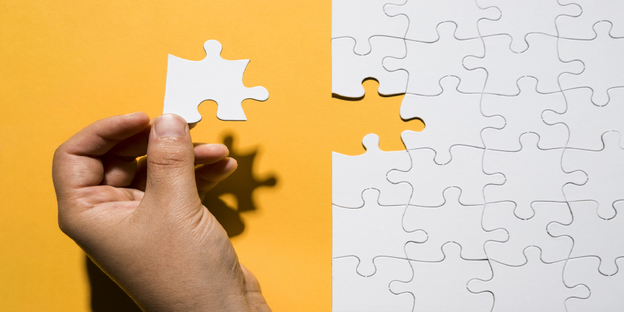 Person holding the last piece of a puzzle